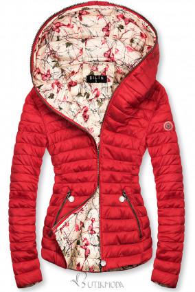 Piros színű steppelt dzseki mintás béléssel