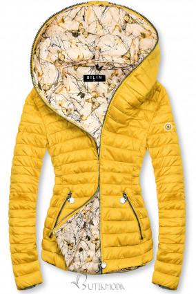 Sárga színű steppelt dzseki mintás béléssel