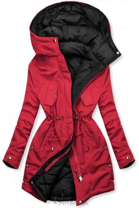 Hosszított kifordítható parka - piros és fekete színű