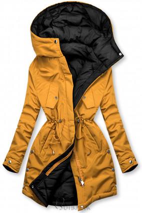 Hosszított kifordítható parka - sárga és fekete színű