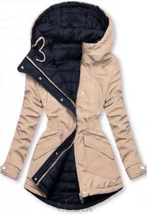 Kifordítható kabát behúzással - bézs és kék színű