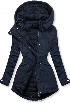 Kifordítható kabát behúzással - sötétkék színű