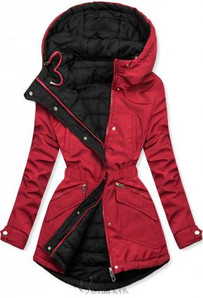 Kifordítható kabát behúzással - piros és fekete színű