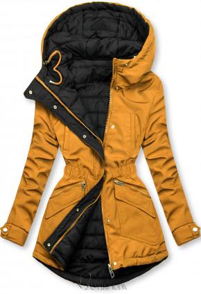 Kifordítható kabát behúzással - sárga és fekete színű