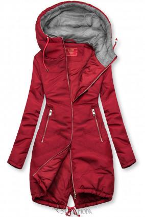 Piros színű hosszított kabát kapucnival