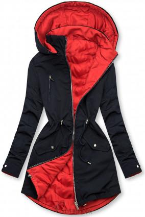 Kék és piros színű parka levehető kapucnival