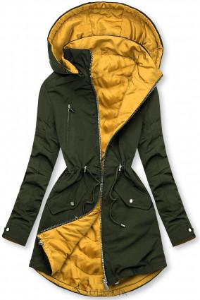 Khaki és sárga színű parka levehető kapucnival