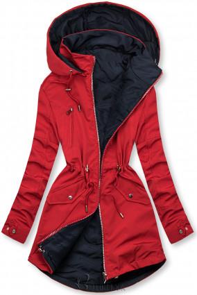Piros és kék színű parka levehető kapucnival