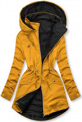 Sárga és fekete színű parka levehető kapucnival