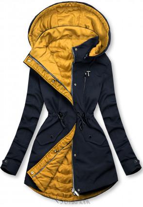 Kifordítható kabát - sötétkék és sárga színű