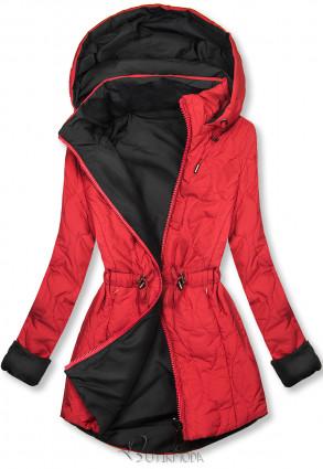 Steppelt őszi parka - piros és fekete színű