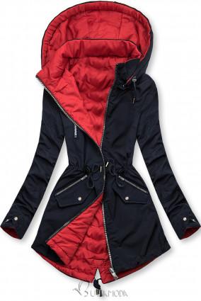 Kék és piros színű parka kapucnival