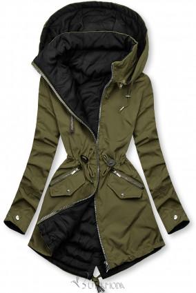 Khaki és fekete színű parka kapucnival