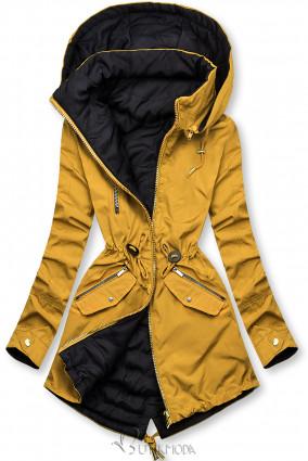 Sárga és kék színű parka kapucnival