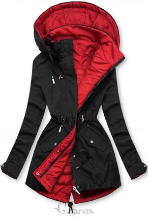 Átmeneti kifordítható parka - fekete és piros lszínű