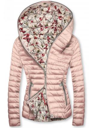 Rózsaszínű steppelt dzseki kapucnival