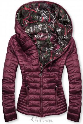 Lila színű steppelt dzseki színes béléssel