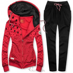 Pöttyös melegítő szett - piros és fekete színű