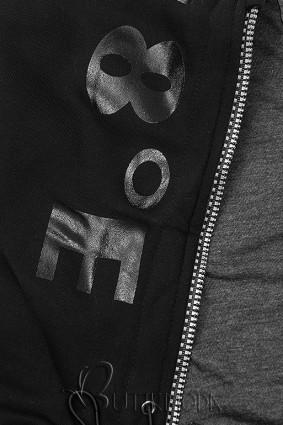 Kapucnis melegítő szett - fekete színű